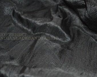Black Pure Silk Dupioni, Raw Silk, Indian Silk Fabric, Raw Mulberry Silk - Indian Dupioni Silk by Yard