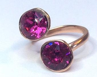 SWAROVSKI MULTI-STONE ring cerise pink fuschia rose gold crystal double stone gift for her boho art deco art nouveau