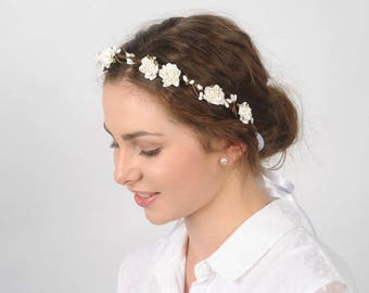 White Flower Crown Headband, Bridal Flower Headpiece, Wedding Hair Piece