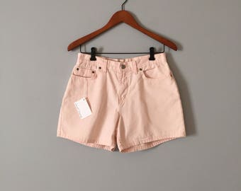 blush pink denim shorts // 90s high waisted shorts