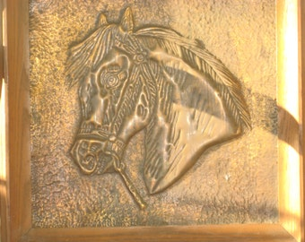 Hand HAMMERED COPPER HORSEHEAD w/ Frame