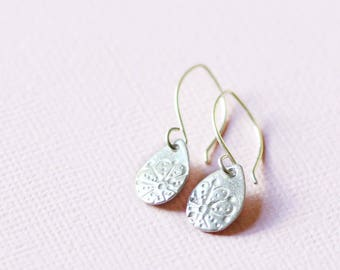 silver teardrop earrings, sterling and fine silver, aya