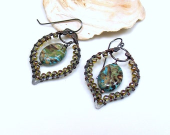 Beaded Hoop Dangles, Hippie Earrings, Artisan Handmade Original Design, Mixed Metals Glass and Jasper, Sterling Earrings, Gift for Her