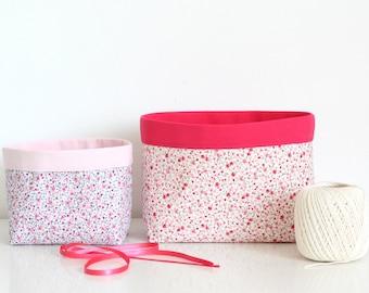 Duo de paniers de rangement en tissu, coloris rose et gris clair, motifs fleurs