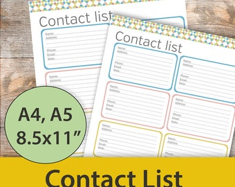 Contact List, Editable contact list, Contact Tracker, Address Book Printable, Printable Planner Inserts, Editable Planner Pages