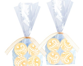Wedding Favors, Bride To Be, Bridal Shower - French Vanilla Creme Candy Drops - 8 Bags with Ribbon