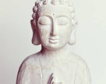 SALE, Buddha Wall Art, India Buddha Statue, Bathroom Art, Meditation, Prayer, White, Spiritual Art, Peaceful, Home Decor, Wall Art, Print