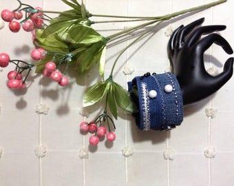 Handmade Denim Cuff Bracelet