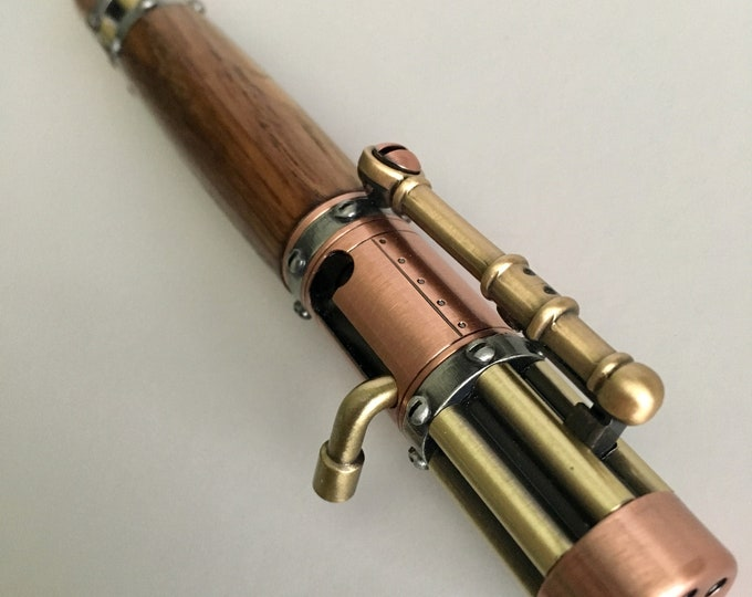 Steampunk Bolt Action Pen w/Jack Daniel's Oak Barrell Wood Body Custom Pen  Handmade Pen Solid Wood