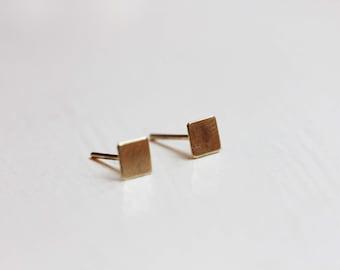Tiny Gold Square Studs