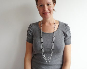 Long chain necklace layered chain necklace minimalist long necklace black beads necklace for women
