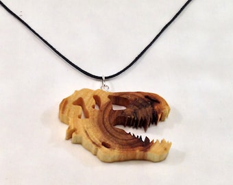 T-Rex Skull Necklace made from Elm wood disk - hand cut with scroll saw - FREE GLOBAL SHIPPING