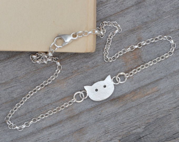 Kitten Bracelet Anklet With In Solid Sterling Silver Handmade In England