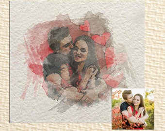 Personalized watercolars portrait of couple / Valentine's day gift / printable portait of couple / custom portrait