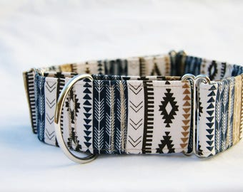 Southwest- Aztec- Tribal Stripe- Navy Khaki Stripe Martingale  Dog Collar - Pet Collar- Pet Accessories- Supplies- Large Breed Dogs