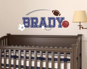 Boy Name Wall Decal - Sports Wall Decal - Removable Vinyl Decal