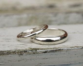 9ct white gold wedding band set, white gold band set