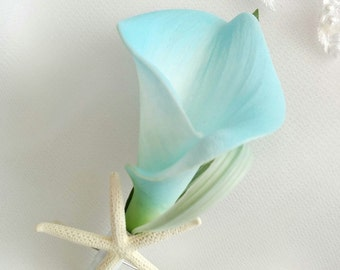 Wedding Natural Touch Aqua Turquoise Calla Lily and Starfish Silk Wedding Beach Boutonniere