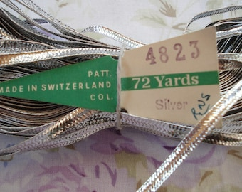 "1y Antique Vintage Swiss Tiny 3/16"" Silver Metallic Flat Braid Ribbon Trim Edging Doll Christmas Ornament Collage Art Altered Art Craft"