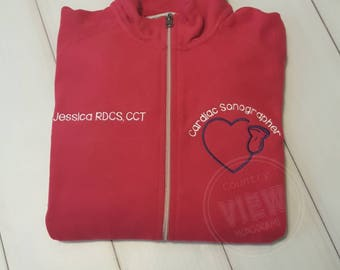 Women's Cardiac Sonographer fleece jacket- Customizable Jacket with Colors and Font options-Razzle