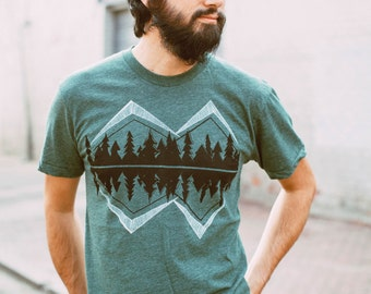 Wanderlust Adventure Shirt, Fathers Day Gift Men Tshirt Graphic Tee, Crater Lake Camping Shirt PNW Forest Green Mountain Screen Print
