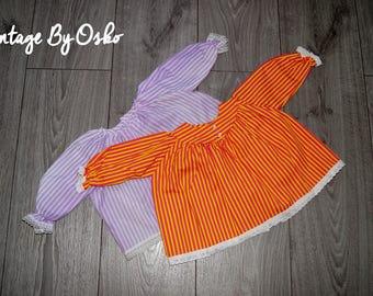 Vintage White lilac dress,cotton striped dress, size 0-3 months,Vintage  Pink yellow, cotton striped dres