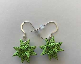 Moravian Star Earrings—Lime Green with Triangles