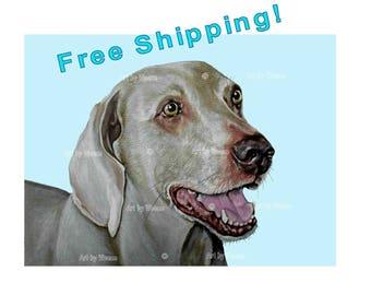 Weimaraner, Weimaraner Art, Weimaraner Print, Weimaraner Dog, Weimaraner Drawing, Weimaraner Picture, Weimaraner Gifts, Free Shipping!
