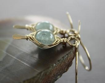 Pale blue aquamarine gold filled earrings with herringbone wrapping - Aquamarine earrings - Dangle earrings - Gemstone earrings - ER005