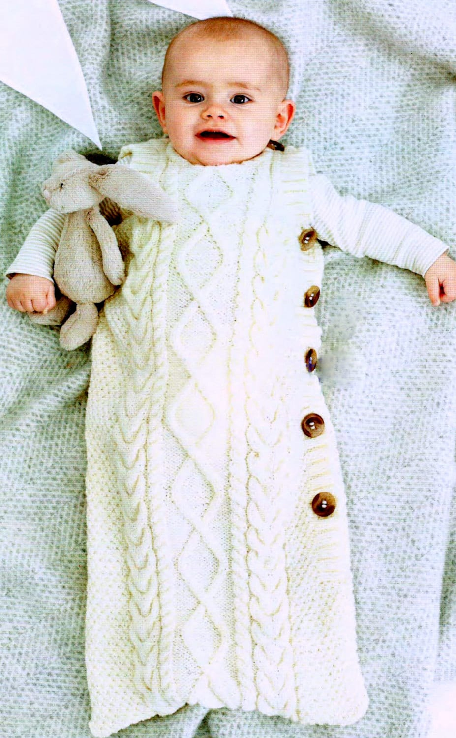 Knitting Pattern Baby Sleeping Bag Cocoon Sleep Sack Papoose Cable ...