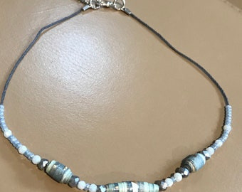 Blue combo paper beaded necklace