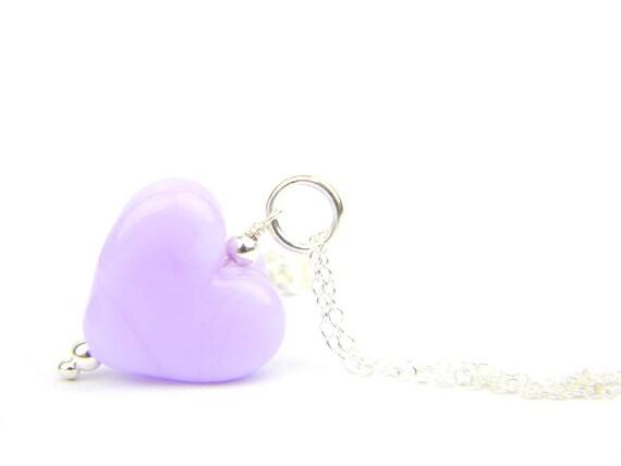 Art Glass Pendant - Medium Rapunzel Heart Glass Bead Sterling Silver Pendant - Classic Collection