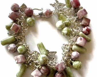 Pink, Green and Silver Butterfly  glass bead charm Bracelet