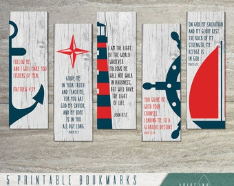 Inspirational Printable Bookmarks | Scripture Bookmark | Nautical Bookmark Set | Instant Download | Set of 5 | Bible verse bookmark