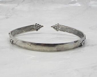 Vintage 925 silver - antique floral vine & grapes detail cuff bracelet b1018