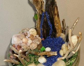 Mini desktop garden, mountain water fall with driftwood, pink granite stones and quartz beads