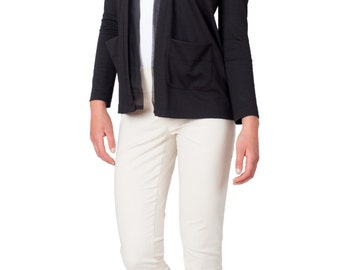 SALE - Black Cardigan, Sweater, Jacket, Pockets, Formal, Dressy, Silk, Silk Chiffon, Work Jacket, Layering Jacket, Cozy Cardigan