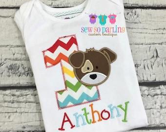 Baby Boy 1st Birthday Shirt - 1st Birthday Puppy Shirt - Dog birthday Shirt - Puppy Birthday Outfit - Boy Puppy Birthday shirt - ANY AGE