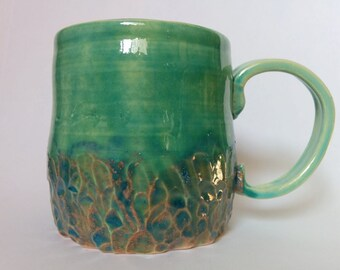 Turquoise Green Handmade Ceramic Coffee Mug, Blue Coral Orange Pink Textured Pottery Mug, Boho Seaside Ocean Cup, Ashley Beth