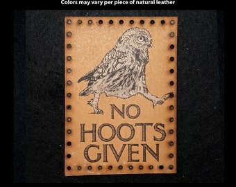 No Hoots Given Leather Patch