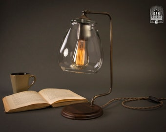 Aged Brass Edison Bulb Table Lamp   Glass Shade   Desk Lamp   Edison Light Bulb   Table Lamp   Bed Light   Night Stand