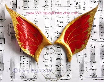 Christmas Elf Ears, costume ear wings, Christmas fairy cosplay ears, scarlet and gold