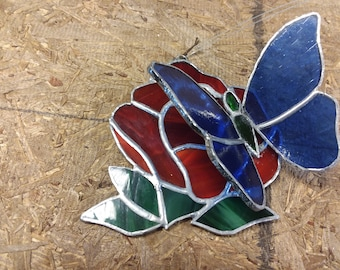 Handmade Stained Glass Red Rose/Blue Butterfly Sun Catcher