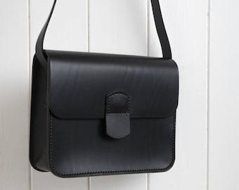 The Little Black Bag, Black Leather Bag, Small Bag, Shoulder Bag, Crossbody Bag, Handmade Bag, Party Bag