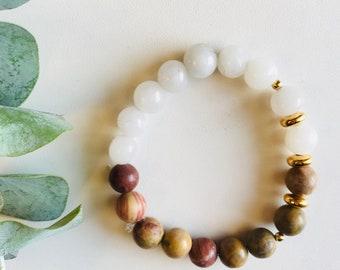 Jasper, Quartz, Gold, Mala Bracelet, Yoga Bracelet, Gemstone Bracelet, Meditation Bracelet, Crystal Healing Jewelry, Spiritual Gift