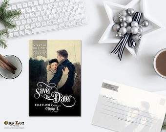 Modern Save the Date, Trendy and Clean Printable Save the Date Postcard, Simple Save the Date Card with photo, DIY Wedding Printable
