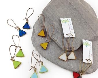 Triangle earrings // boho chic // czech glass and brass earrings // handmade // ready to ship
