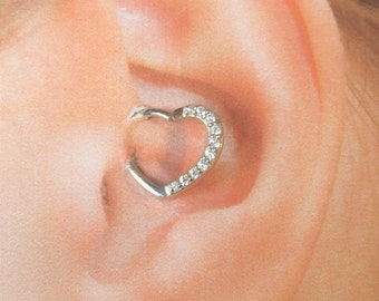 14k solid White Gold daith Piercing Multistone Heart Ring..16g..9mm inside diameter..(Left Ear)