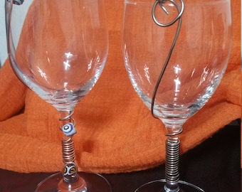 Hand Made Beaded wired Copper  Wine Glasses  Per  Set