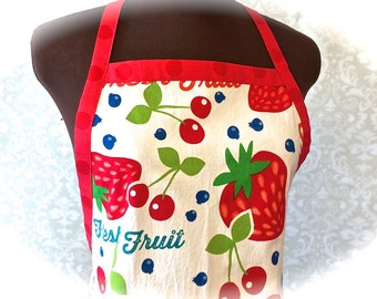 Apron, Chefs Apron, Fruit Print, Red and White, Bridal Shower Gift, Housewarming, Mothers Day by 8th Day Encore